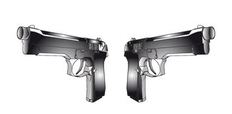 Guns. Illustration on white background (with vector EPS format Royalty Free Stock Photo