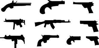 Guns. Ten guns silhouettes in black Royalty Free Stock Photography