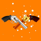 Guns. Vector illustration of two guns in drops Stock Photo