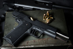 Guns and ammunition Stock Photo