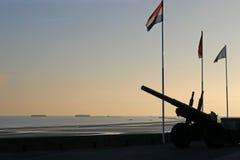 Guns at Arromanches at dawn Stock Images