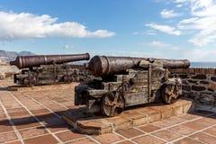 Guns. Artillery at sohail Castle Spain Stock Photography
