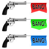 Guns with Bang Flags Stock Photography