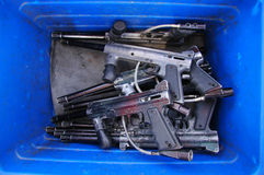 Guns In Blue Box royalty free stock photos