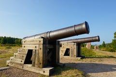 Guns of Bomarsund fortress Stock Image