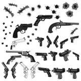 Guns and bullet holes set Royalty Free Stock Image