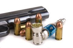 Guns Bullets Drugs Royalty Free Stock Photography