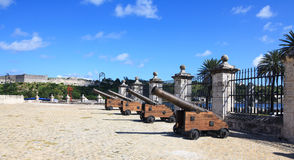 Guns of the castillo de la Real Fuerza. Stock Photography