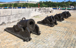 Guns of the castillo de la Real Fuerza. Royalty Free Stock Photo