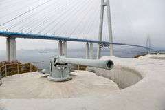 Guns coastal battery Vladivostok fortress Royalty Free Stock Photos