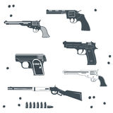 Guns collection set of Bullet Royalty Free Stock Photo