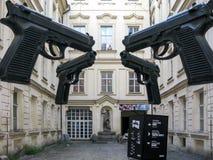 Guns in courtyard AMoYA, Prague Stock Photography