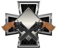 Guns on cross. Two black guns against cross background,  illustration Royalty Free Stock Photo
