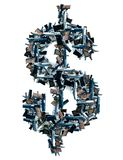 Guns and dollar sign. Conceptual image of dollar sign with guns over white stock photography