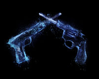 Guns firing. abstract splash. An illustration of a pistol and revolver firing, created out of water splashes and droplets Stock Image