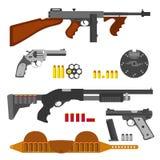 Guns flat set, machine gun, thompson rifle, revolver, pistol, shells. Royalty Free Stock Photography