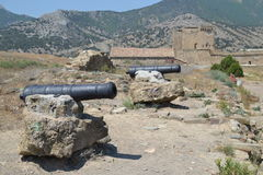 Guns in the Genoese fortress. Ancient history stock photos