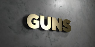Guns - Gold sign mounted on glossy marble wall  - 3D rendered royalty free stock illustration Royalty Free Stock Photo