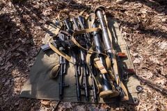 Guns on the ground Royalty Free Stock Photo