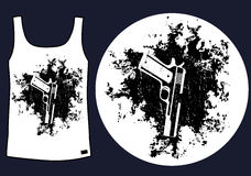 Guns on the grunge background t-shirt design Stock Image