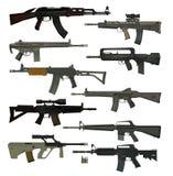 Guns guns guns. Collection of firearms. ten assault rifles Stock Image