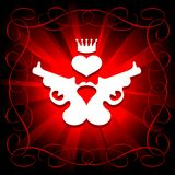 Guns, heart and crown. In shining red background Royalty Free Stock Images