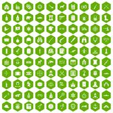 100 guns icons hexagon green. 100 guns icons set in green hexagon isolated vector illustration Royalty Free Stock Photo