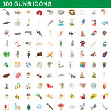 100 guns icons set, cartoon style. 100 guns icons set in cartoon style for any design vector illustration Stock Images