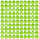 100 guns icons set green circle. Isolated on white background vector illustration Royalty Free Stock Image