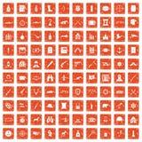 100 guns icons set grunge orange. 100 guns icons set in grunge style orange color isolated on white background vector illustration Royalty Free Stock Image
