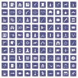 100 guns icons set grunge sapphire. 100 guns icons set in grunge style sapphire color isolated on white background vector illustration Stock Photography