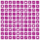 100 guns icons set grunge pink. 100 guns icons set in grunge style pink color isolated on white background vector illustration Royalty Free Stock Photos