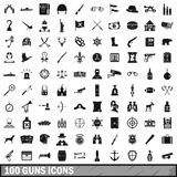 100 guns icons set, simple style. 100 guns icons set in simple style for any design vector illustration vector illustration