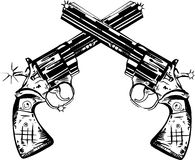 Guns Illustration. An original pen and ink illustration of two magnum pistols Stock Image