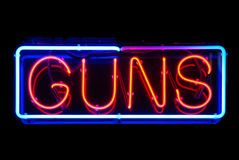 Guns Neon Sign Royalty Free Stock Photography