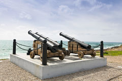 Guns at Paphos harbor in Cyprus. Stock Image