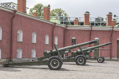 Guns in the Peter and Paul Fortress in St. Petersburg Royalty Free Stock Photos