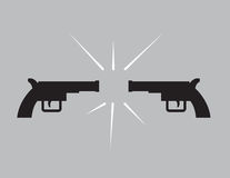Guns Pointing Each Other. Two guns in silhouette pointing at each other Royalty Free Stock Photo