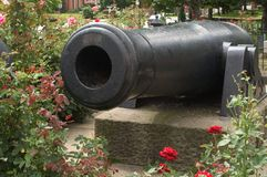 Guns and Roses. A large cannon surrounded by a rose garden as a memorial in a park in North Eastern Ohio Stock Photos