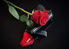 Guns and roses Royalty Free Stock Images