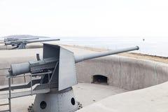 Guns by the sea stock photo