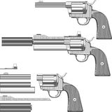 Guns set. A set of parts to build the gun illustration Royalty Free Stock Images