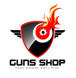Guns Shop Logo. Illustration drawing representing a guns shop logo made of a bullet shield with one bullet whole inside it and fire flames around it Royalty Free Stock Photo