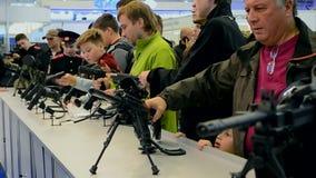Guns show during International Aviation and Space Salon AVIASVIT-XXI,Kiev, Ukraine stock footage