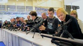 Weapon show during International Aviation and Space Salon AVIASVIT-XXI,Kiev, Ukraine stock video footage