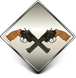 Guns sign. Square sign with two black guns against background, illustration stock illustration