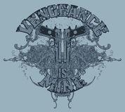 Guns t-shirt design. A t-shirt design with two guns, barrels pointing at the words is mine. The full text is vengeance is mine Royalty Free Stock Photos