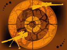 Guns and target. Abstract colored illustration with yellow gun shapes and target Royalty Free Stock Photos