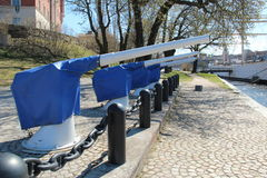Guns used for royal salutes on the island Skeppsholmen. Stock Photos
