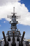 Guns of the USS Missouri. View from the foreward main deck of the historic battleship USS Missouri, anchored at Pearl Harbor Royalty Free Stock Photos
